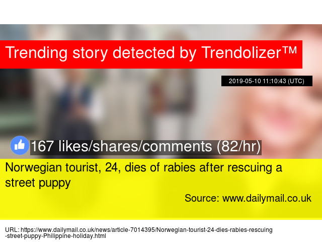 Norwegian tourist, 24, dies of rabies after rescuing a